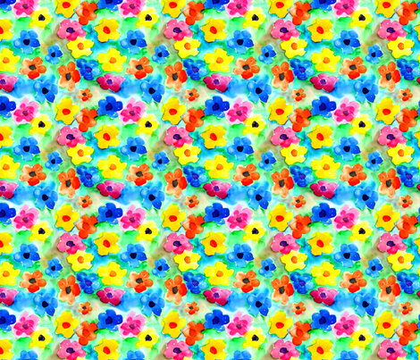 Watercolor_flowers_copy fabric by trishadstudio on Spoonflower - custom fabric