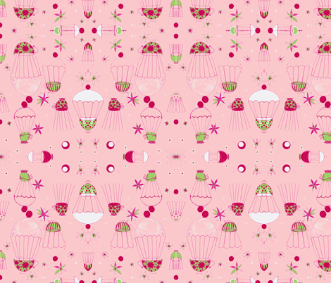 Pink flying tea party fabric by roly_poly_bat_faced_girl on Spoonflower - custom fabric