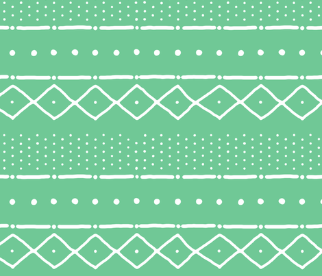 Mudcloth II (Petite) in white on fresh green fabric by domesticate on Spoonflower - custom fabric