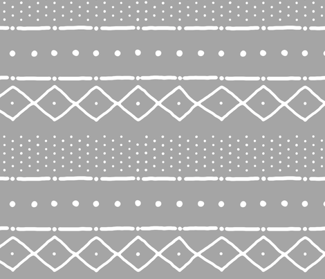 Mudcloth II (petite) in white on gray fabric by domesticate on Spoonflower - custom fabric