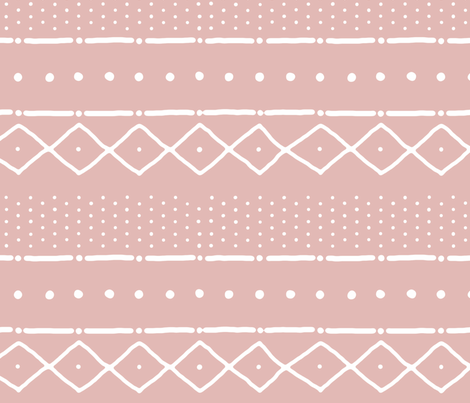 Mudcloth II (Petite) in white on nude fabric by domesticate on Spoonflower - custom fabric