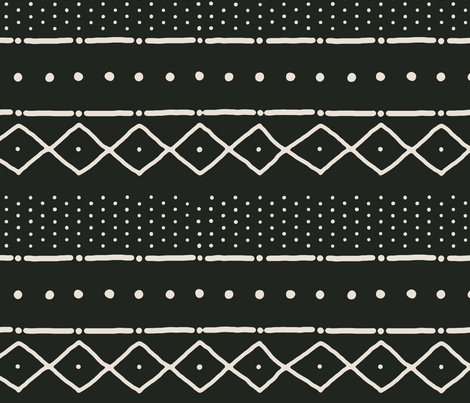 Mudcloth II (Petite) in bone on black fabric by domesticate on Spoonflower - custom fabric
