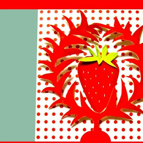 Giant Cut-Paper Strawberry Wreaths