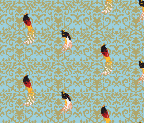 Birds of Paradise Damask fabric by evenspor on Spoonflower - custom fabric