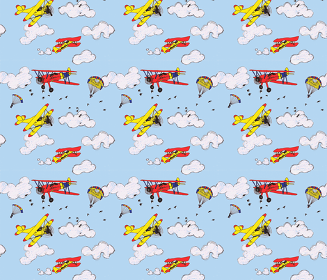 Flying Lessons fabric by louiseerskinedesigns on Spoonflower - custom fabric