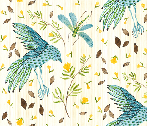 Grand Frolic Natural - Frolic Collection fabric by gollybard on Spoonflower - custom fabric