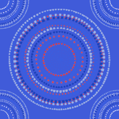 Dancing dervish circles on blue