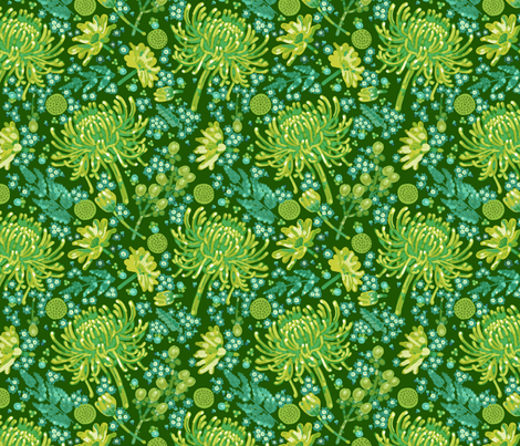 Green Flowers fabric by chad_grohman on Spoonflower - custom fabric