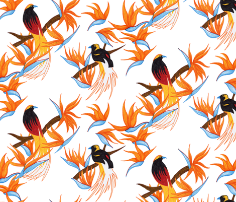 Birds of Paradise on White fabric by evenspor on Spoonflower - custom fabric