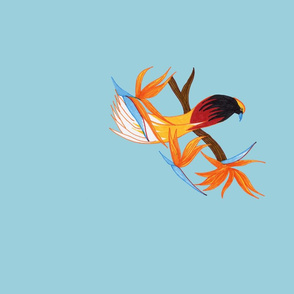 Single Bird of Paradise on Powder Blue