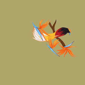 Single Bird of Paradise on Gold