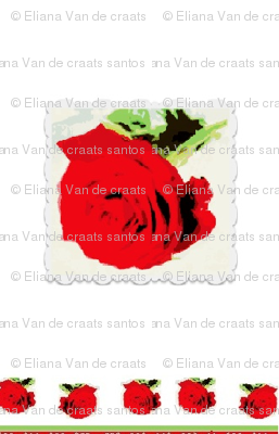Red Roses on White Background  Fabric on July 12, 2012