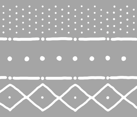 Mudcloth II in white on gray fabric by domesticate on Spoonflower - custom fabric