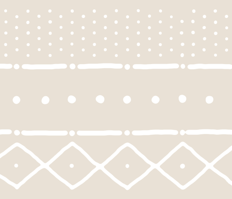 Mudcloth II in white on bone fabric by domesticate on Spoonflower - custom fabric