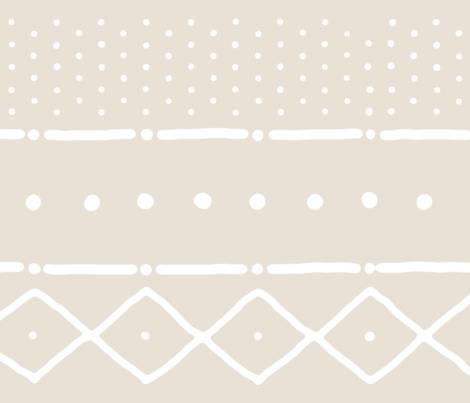 Mudcloth II in white on bone fabric by domesticate on Spoonflower - custom fabric