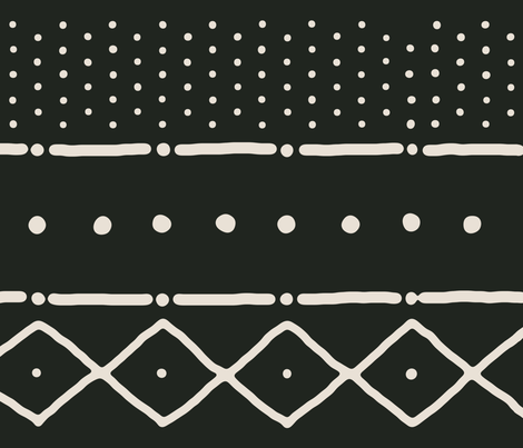 Mudcloth II bone on black fabric by domesticate on Spoonflower - custom fabric