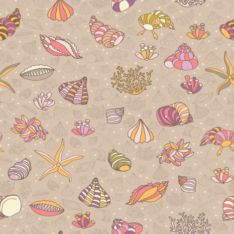 seashells, starfish and algae fabric by yaskii on Spoonflower - custom fabric