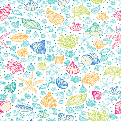 seashells, starfish and algae fabric by innaogando on Spoonflower - custom fabric