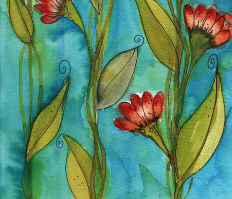 "Water_flowers fabric by mary_""miera""_hayworth on Spoonflower - custom fabric"