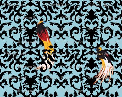 Birds of Paradise Damask -Blue