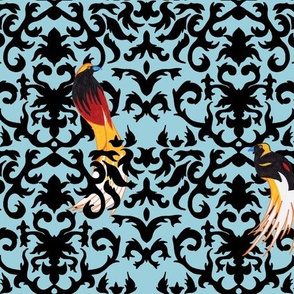 Birds of Paradise Damask -Blue