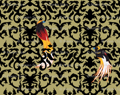 Birds of Paradise Damask Gold and Black