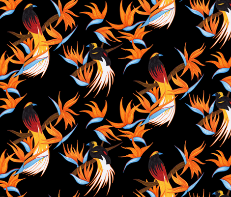 Birds of Paradise on Black fabric by evenspor on Spoonflower - custom fabric