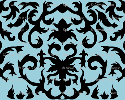Damask in Black and Powder Blue