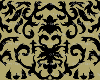 Damask in Gold and Black
