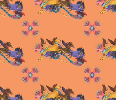 Wind Horses in Pumpkin fabric by rima on Spoonflower - custom fabric