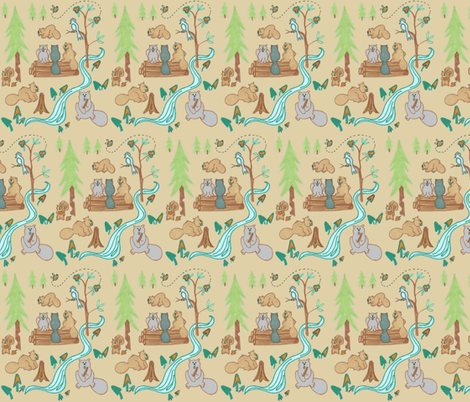 Lazy Beavers in Beige fabric by kbexquisites on Spoonflower - custom fabric