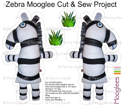 Zebra Mooglee Cut & Sew Soft Toy