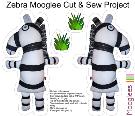 Zebra Mooglee Cut & Sew Soft Toy fabric by smuk on Spoonflower - custom fabric