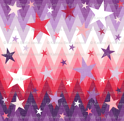 Christmas Stars Purple + Red