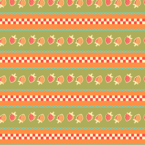 Country Kitchen Strawberry fabric by eppiepeppercorn on Spoonflower - custom fabric