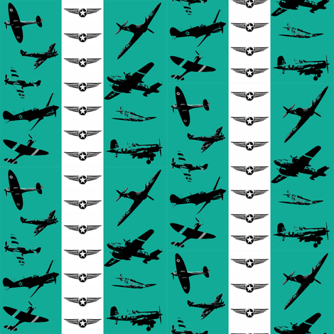 Retro Aviator Teal Stripe fabric by smuk on Spoonflower - custom fabric