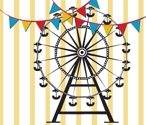 Ferris Wheel Tea Towel fabric by kfay on Spoonflower - custom fabric