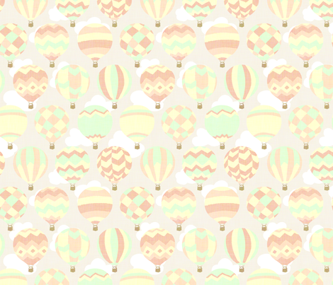 Vintage Toy Hot Air Ballons fabric by hugandkiss on Spoonflower - custom fabric