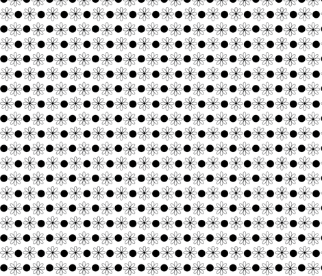 BW-ditty_dot-flowers fabric by terriaw on Spoonflower - custom fabric