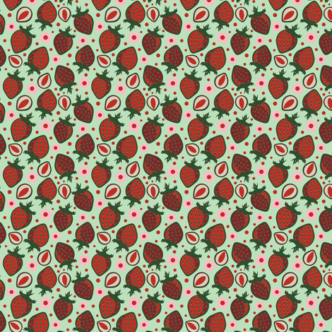 Classic Red Strawberries fabric by eppiepeppercorn on Spoonflower - custom fabric