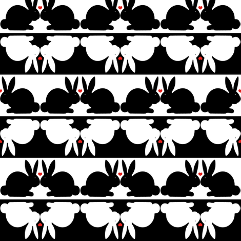 Couple of Bunnies in LOVE fabric by fridabarlow on Spoonflower - custom fabric