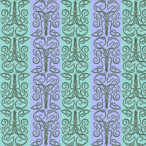 Minoan, Mycenaean; Cephalopod, Squid fabric by wren_leyland on Spoonflower - custom fabric