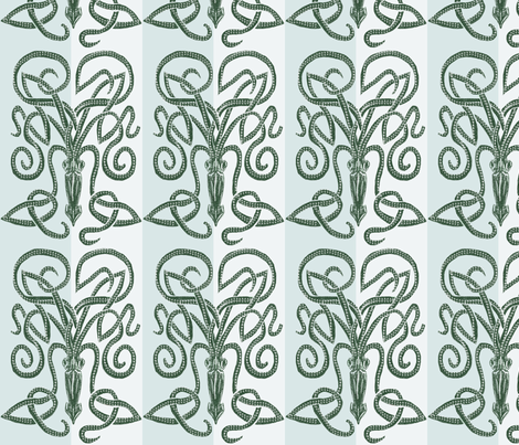 The Minoan Kraken Blues fabric by wren_leyland on Spoonflower - custom fabric
