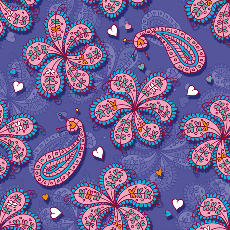 Paisley and flowers fabric by cassiopee on Spoonflower - custom fabric