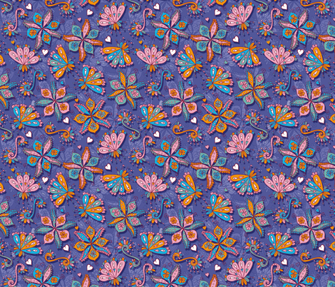 Indian flowers fabric by cassiopee on Spoonflower - custom fabric