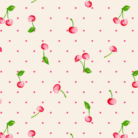 LaraGeorgine_Vintage_Cherry_Polka fabric by larageorgine on Spoonflower - custom fabric