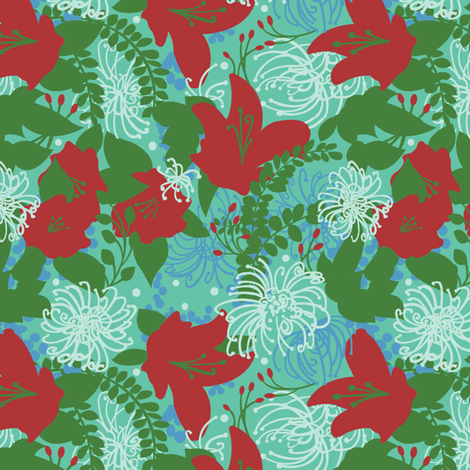 crazy flowers red fabric by julistyle on Spoonflower - custom fabric