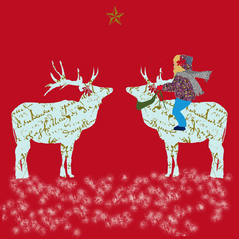 French Script Reindeer, magical night half-drop fabric by karenharveycox on Spoonflower - custom fabric