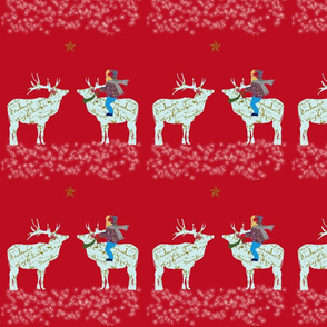 French Script Reindeer, magical night half-drop