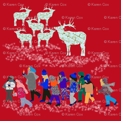 French Script Reindeer and the children of Fairy Lake